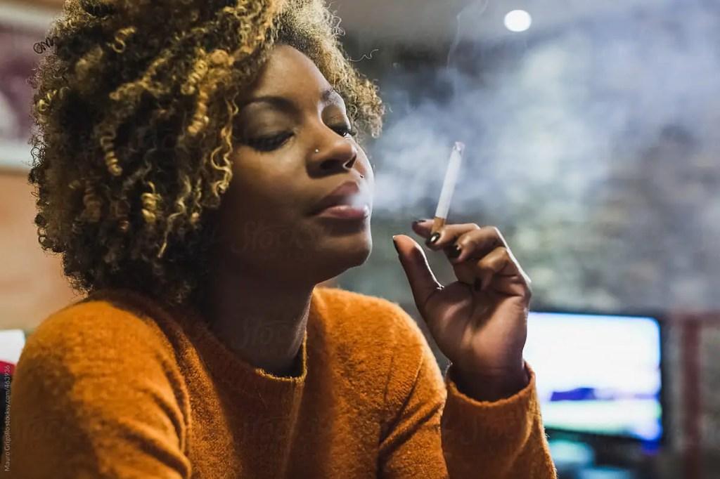 Black woman smoking