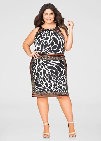 plus-size lady in print blouson dress - Outfits for Ladies with Big Belly