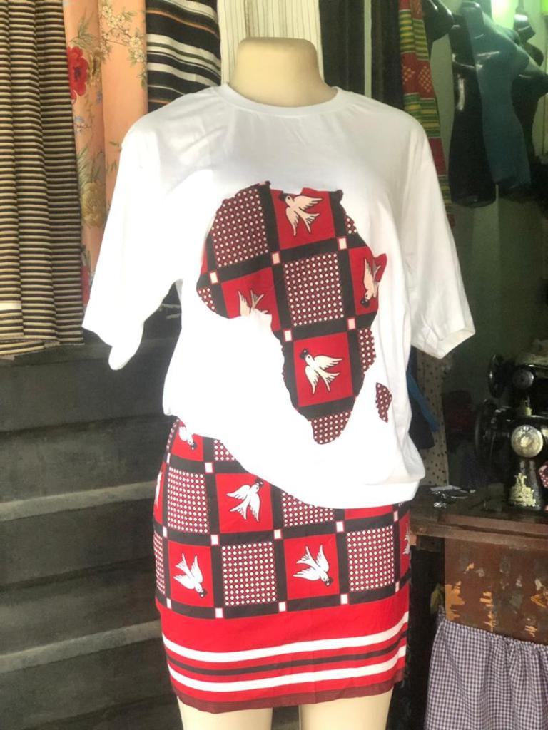 white top on red ankara fabric skirt by Mary Willie