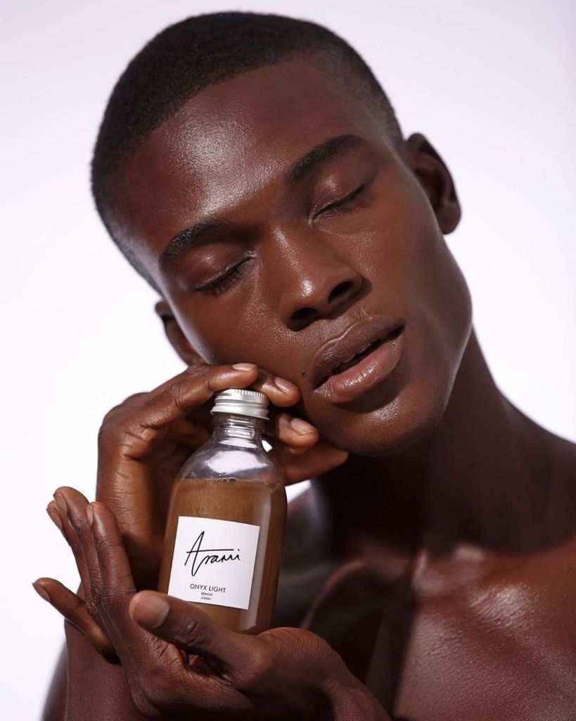 black male model advertising a product