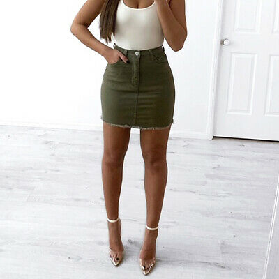 army green denim mini skirt