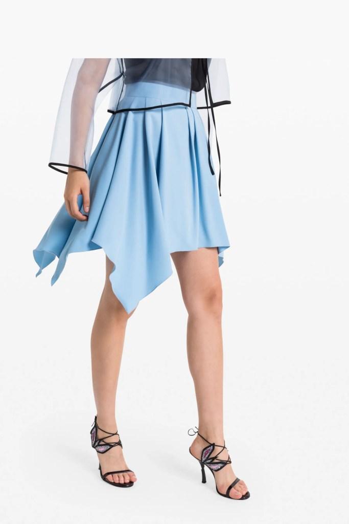 sky blue asymmetrical skirt