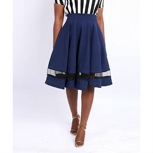 blue flared skirt