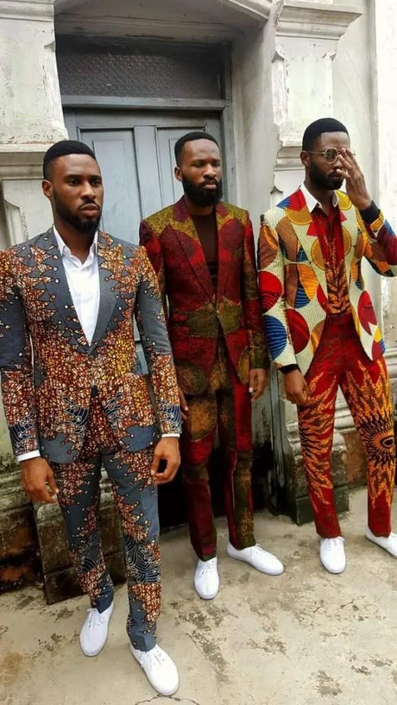 three men in colorful ankara suits
