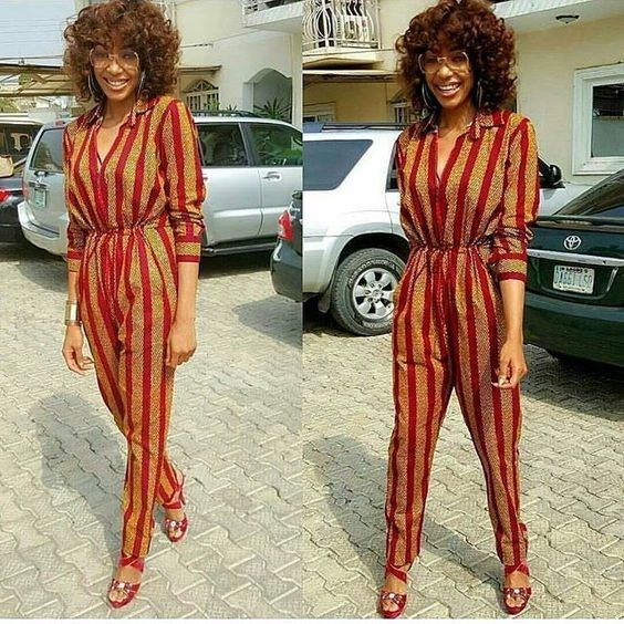 lady in blouson ankara jumpsuit