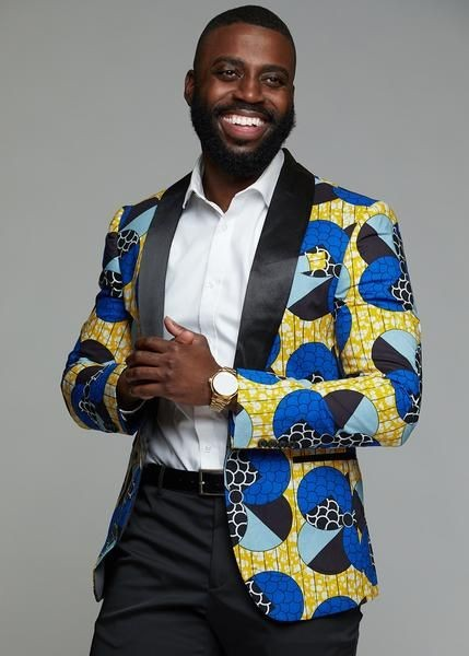 smiling man in an ankara tuxedo