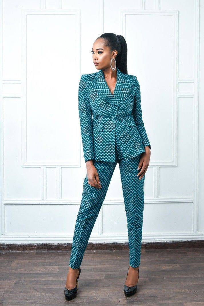 boss lady dressed in ankara suit for work