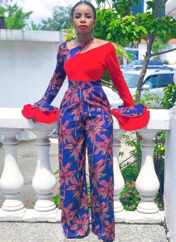 lady in a mix and match ankara jumpsuit