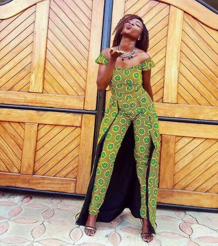 lady in a tapered legs ankara jumpsuit