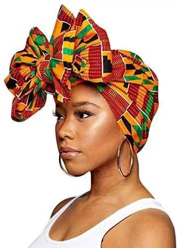 Kente headwear on a lady