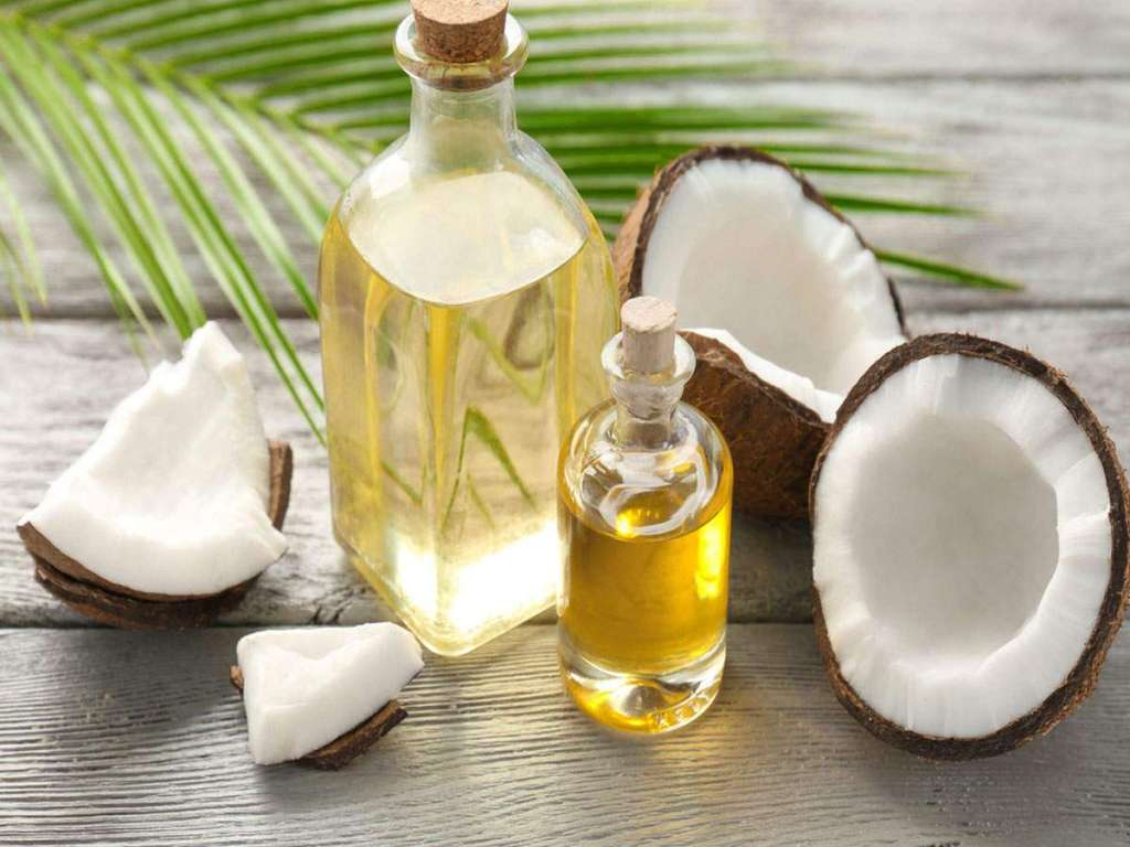 coconut and coconut oil is bottles