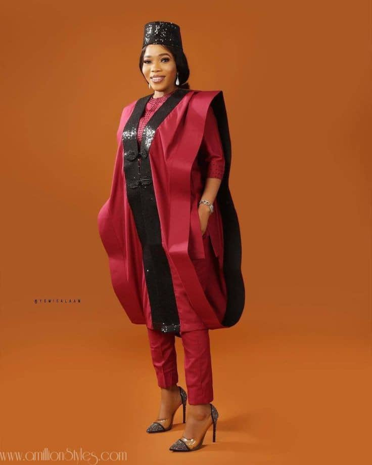 lady rocking red and black mix and match agbada