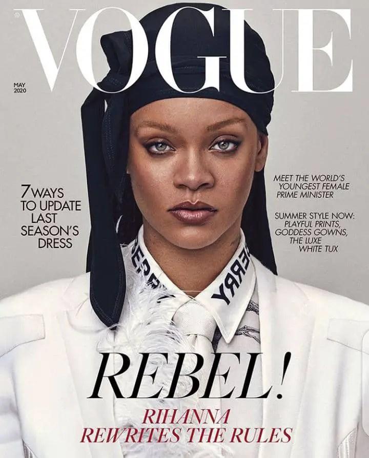 Rihanna rocking a black durag on the cover of Vogue