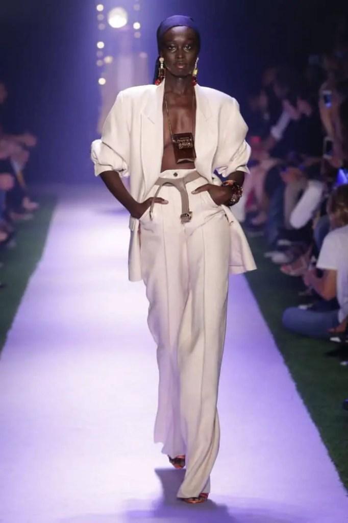 a runway model rocking a durag