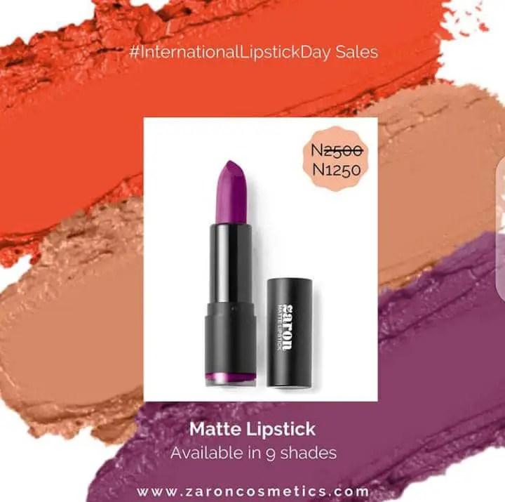 Zaron's purple matte lipstick offering