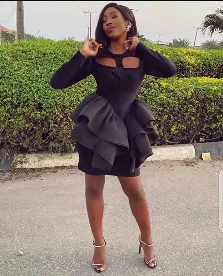 Linda Osifo in a black dress by 2207byBally