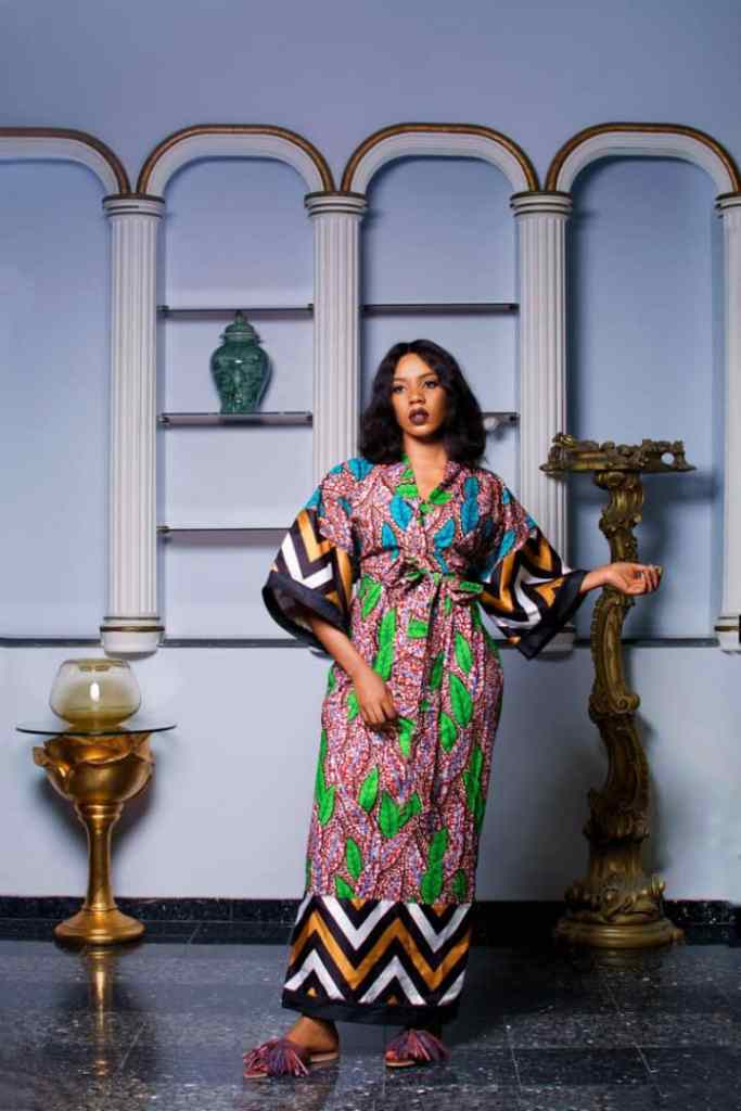 lady wearing a simple ankara long dress