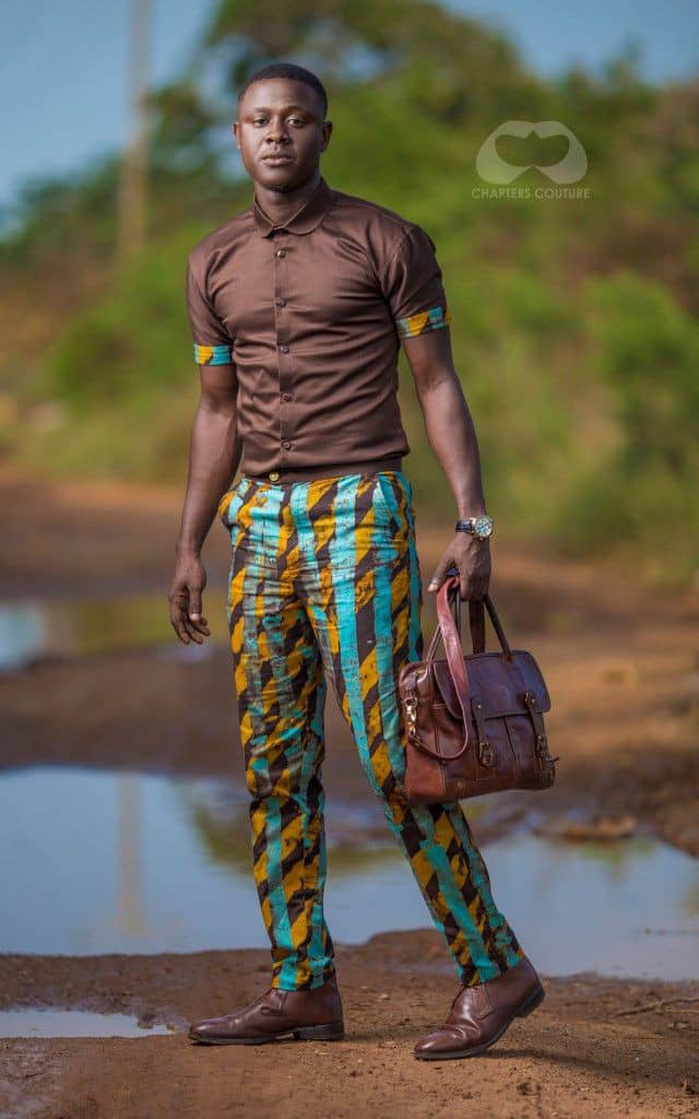 man wearing ankara trousers