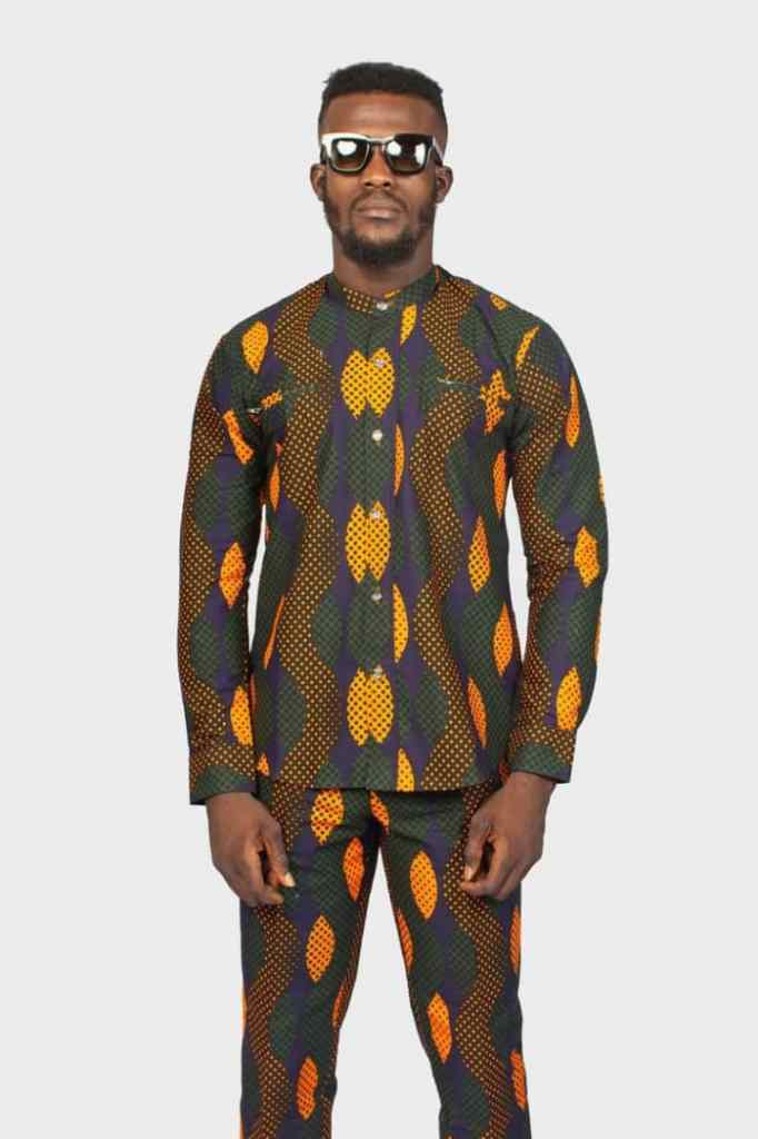 man wearing ankara up and down