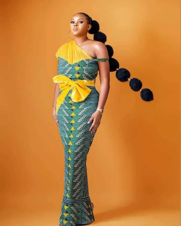 pretty lady wearing ankara long gown