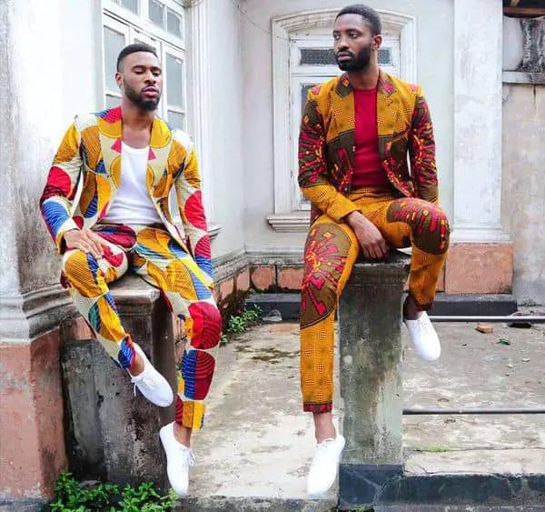 2 men wearing ankara suits