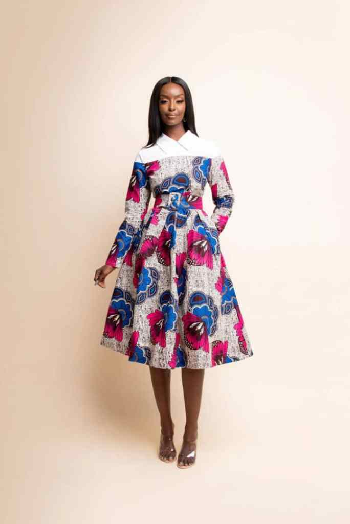 lady wearing ankara midi dress