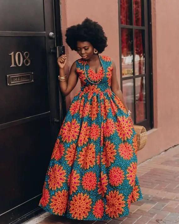 black lady rocking long ankara dress