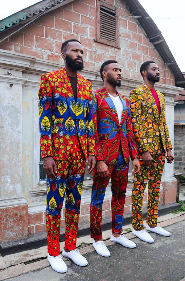 3 men in ankara suits