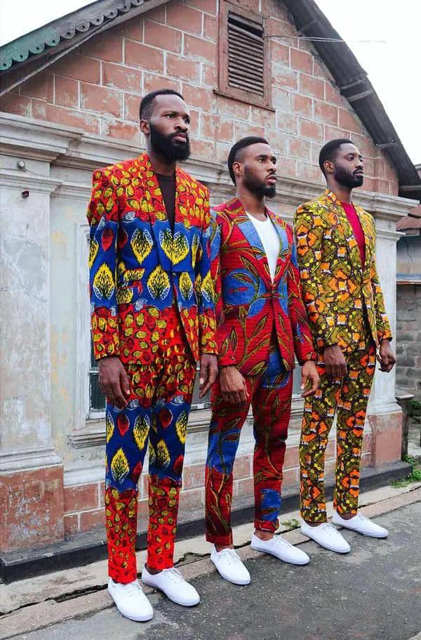 3 men wearing ankara suit