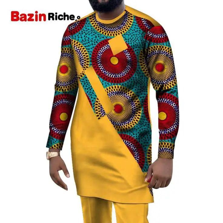 man wearing mix and match ankara senator