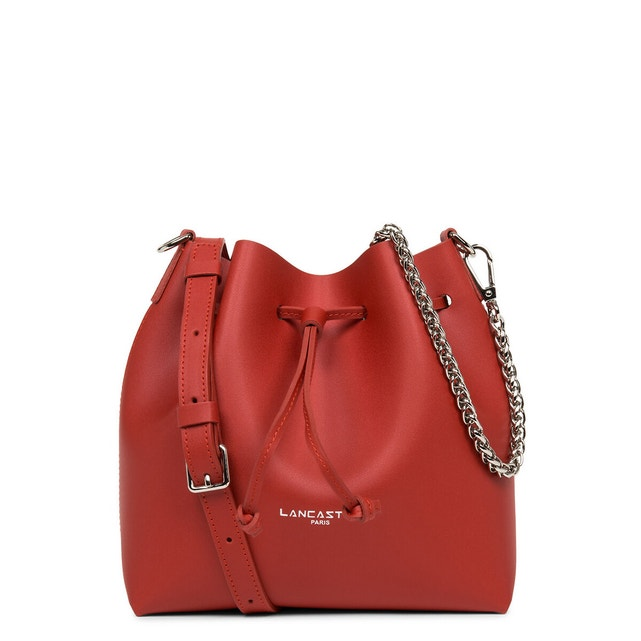 a leather bucket bag