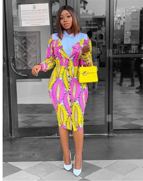 lady wearing a yellow-pink ankara midi dress