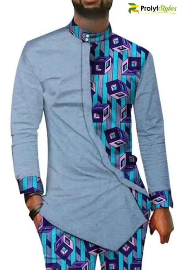 man in a mix and match ankara senator outfit