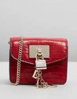 a red micro mini bag