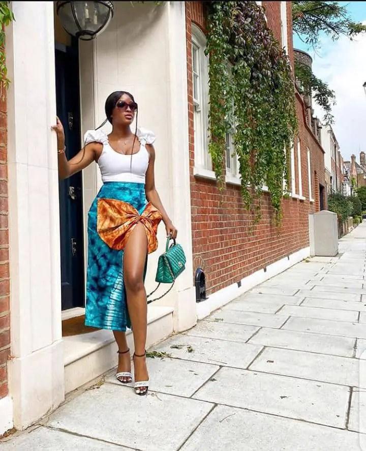 lady wearing adire skirt