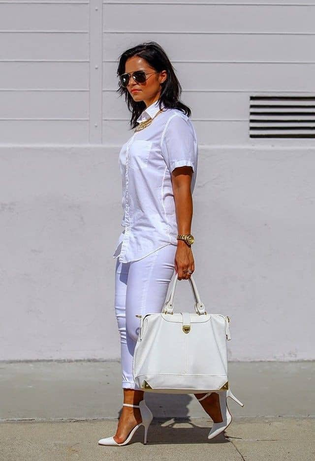 lady in an all-white outfit