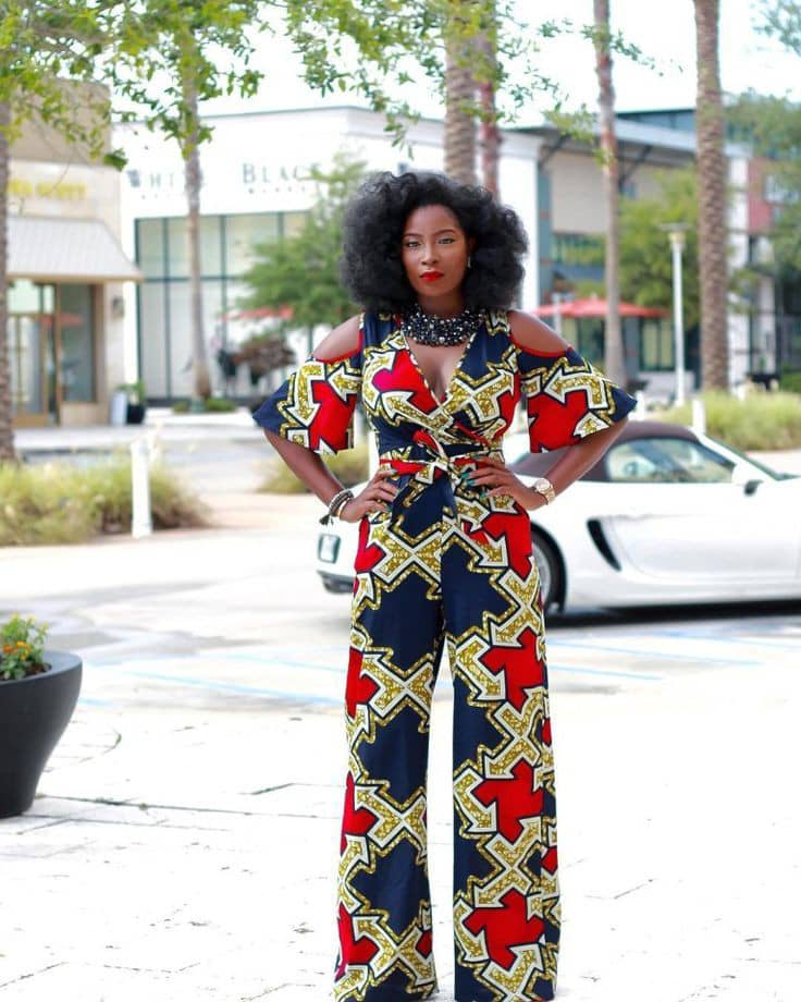 lady wearing ankara jumpsuit