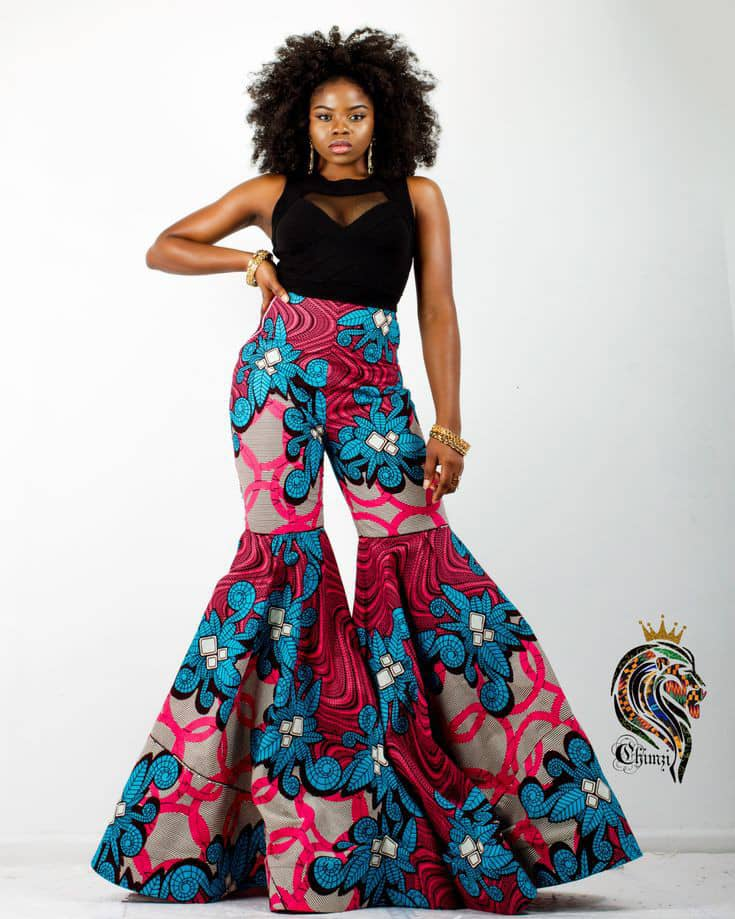 lady wearing ankara super flare pants
