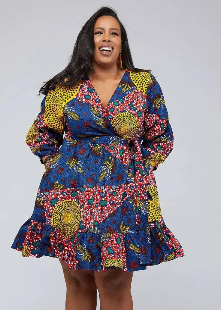 plus sized lady wearing ankara wrap gown to hide belly fat