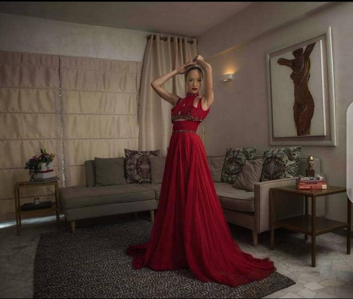 lady in a red long gown