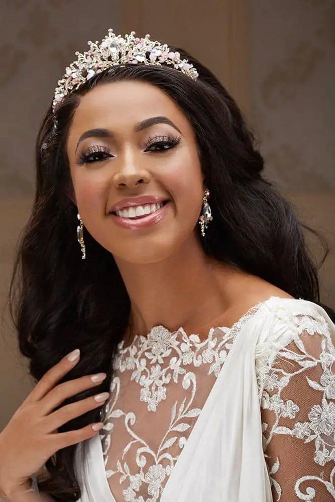 smiling bride wearing a tiara