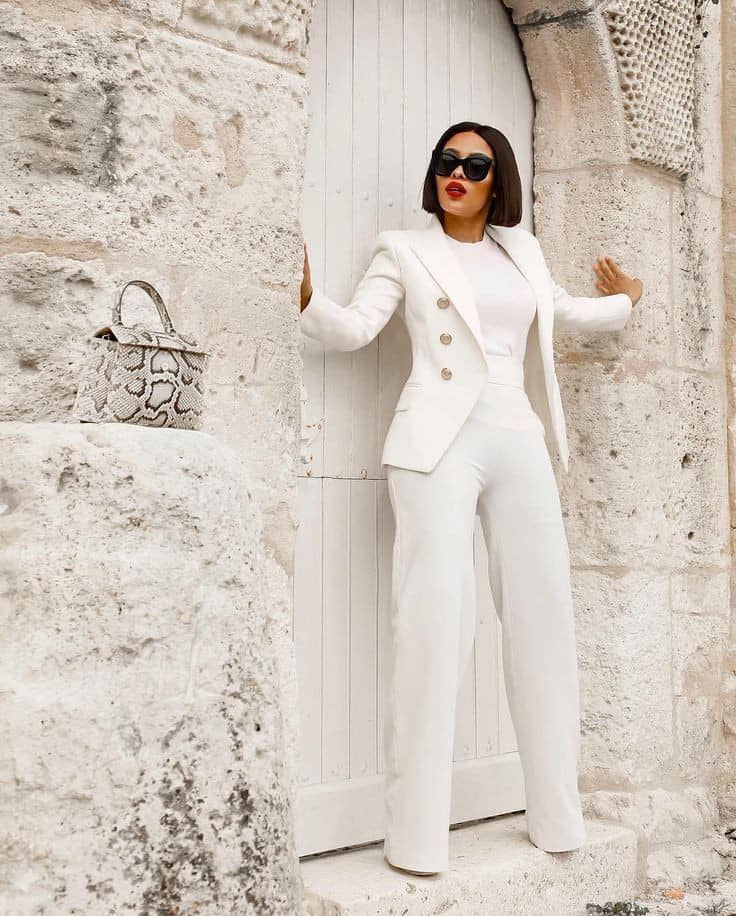 lady in a white blazer, inner and pants