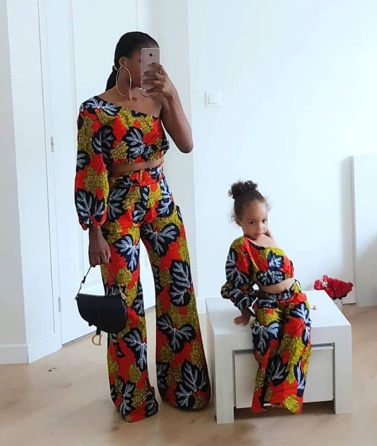 mother and daugther rocking ankara palazzos with matching tops