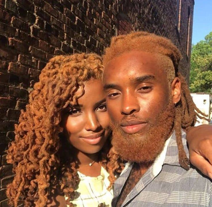 couple with dyed brown hair