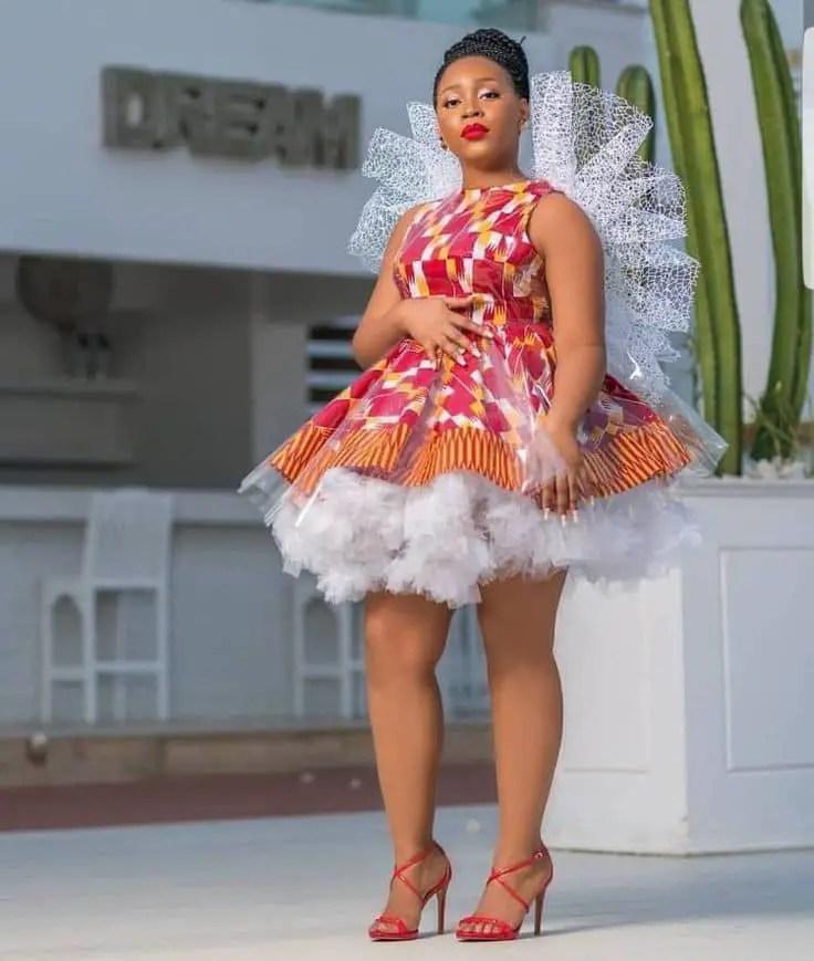 pretty lady in ankara gown with crinoline net