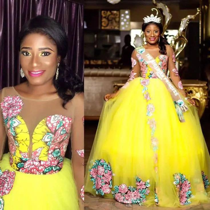 lady rocking a princess dress made with net and ankara fabric