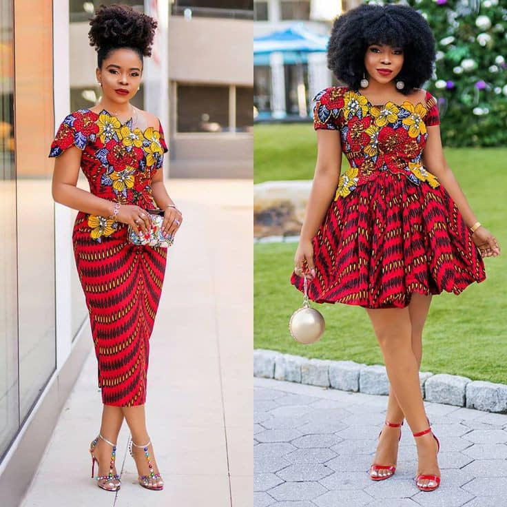 lady wearing mixed ankara outfits in different styles