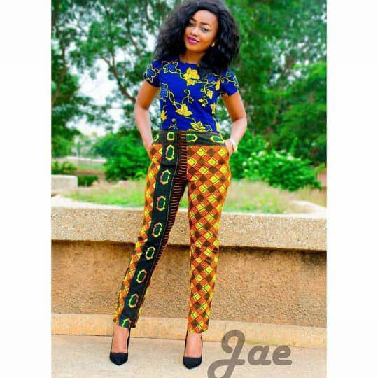 lady wearing different ankara print top and trouser
