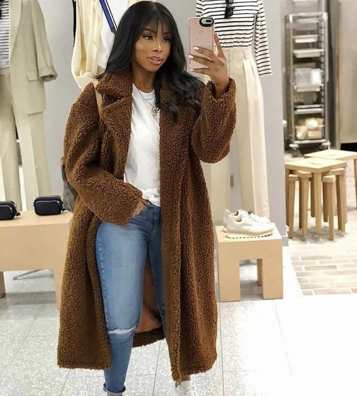 lady wearing fur coat