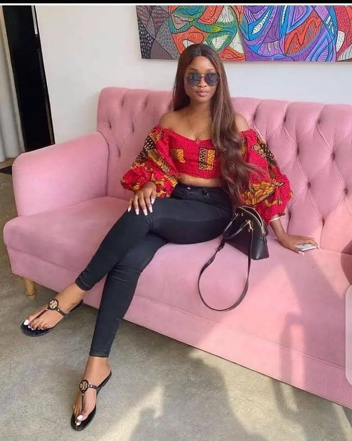 lady wearing African print crop top